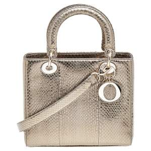 حقيبة يد توتس ديور ليدى ديور جلد ثعبان ذهبي متوسطة