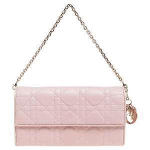 Dior Blush Pink Cannage Leather Lady Dior Wallet On Chain