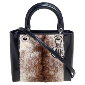 Dior Tricolor Patent Leather and Calf Hair Lady Dior Tote