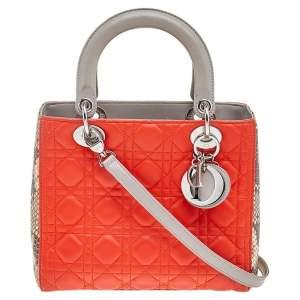 حقيبة يد توتس ديور ليدي ديور جلد ثعبان وجلد ثلاثي اللون متوسطة