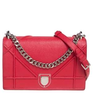 Dior Red Leather Medium Diorama Flap Shoulder Bag