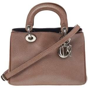 Dior Metallic Brown Leather Mini Diorissimo Tote