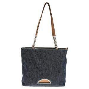 Dior Blue/Beige Denim And Leather Malice Tote