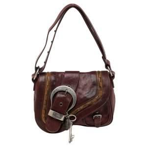 Dior Burgundy Leather Gaucho Double Saddle Shoulder Bag