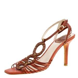 Dior Brown Leather Studded Ankle Strap Sandals Size 39