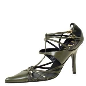 حذاء كعب عالي ديور بمقدمة مدببة حزام جلد أخضر مقاس 36.5