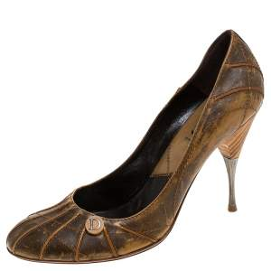 Dior Brown Textured Leather Pumps Size 41