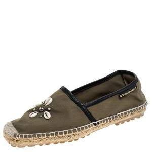 Dsquared2 Khaki Canvas Shell Embellished Espadrille Flats Size 39