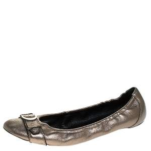 Dior Metallic Leather Buckle Ballet Flats Size 41