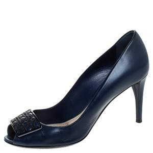 Dior Blue Leather Cannage Metal Bow Peep Toe Pumps Size 37.5