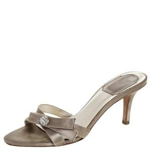 Christian Dior Grey Satin Crystal Ball Embellished Bow Detail Slip On Mules Size 36