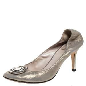 Dior Metallic Glitter Nubuck Round Logo Scrunch Pumps Size 36