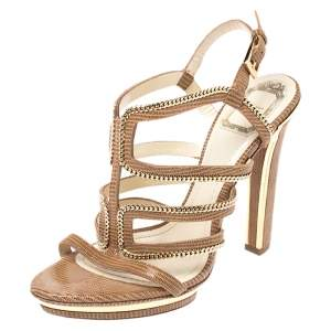 Dior Brown Textured Suede Chain Embellished Strappy Sandals Size 38