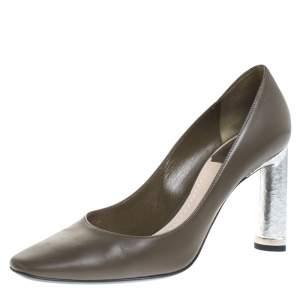 حذاء كعب عالي ديور مقدمة مربعة جلد أخضر زيتوني داكن مقاس 36.5