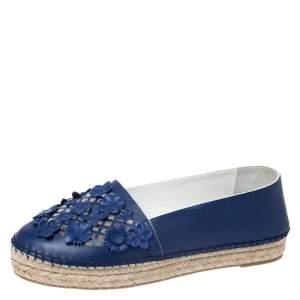 Dior Navy Blue Laser Cut Leather Flower Applique Espadrille Flats Size 37.5