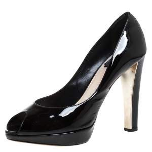 Dior Black Patent Leather Miss Dior Peep Toe Platform Pumps Size 39
