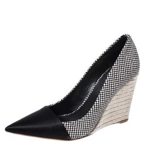 Christian Dior Monochrome Woven Canvas Dolce Vita Pointed Toe Espadrille Wedge Pumps Size 40