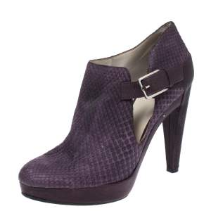 Dior Purple Python Leather And Embossed Leather Platform Ankle Booties Size 40