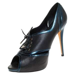 Dior Black/Blue Perforated Leather Peep Toe Lace Up Pumps Size 41.5
