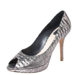 Dior Grey/Silver Python Leather Miss Dior Peep Toe Platform Pumps Size 41