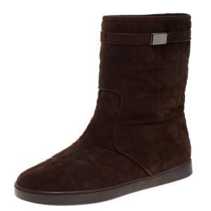 """حذاء بوت كاحل ديور """"كوزي"""" بطانة فرو سويدي كاناج بني مقاس 37.5"""