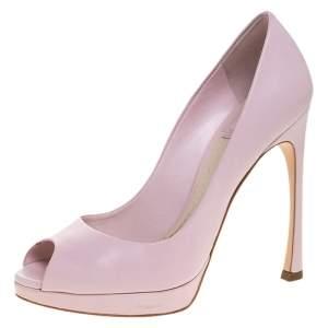 Dior Pink Leather Diorella Peep Toe Platform Pumps Size 36.5