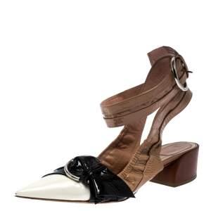 Dior Multicolor Patent Leather Conquest Buckle Detail Ankle Wrap Sandals Size 39