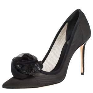 Dior Black Silk Midnight Garden Crystal Embellished Rosette Pointed Toe Pumps Size 37
