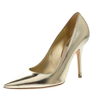 Dior Metallic Gold Leather Cherie Pointed Toe Pumps Size 36