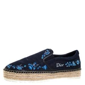 Dior Blue Floral Embroidered Denim Prairie Espadrille Flats Size 39