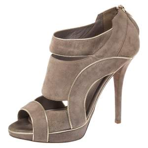 Dior Grey Suede Leather Cutout Open Toe Platform Booties Size 38