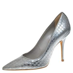Dior Metallic Silver Cannage Leather Cherie Pointed Toe Pumps Size 38