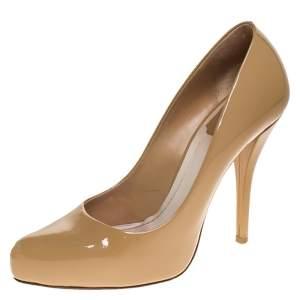 Dior Beige Patent Leather Platform Pumps Size 36.5