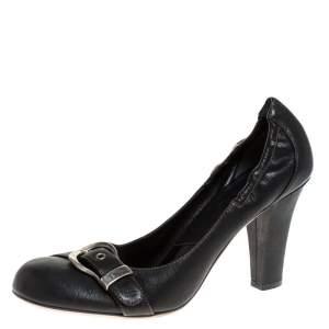 Dior Black Leather Buckle Scrunch Pumps Size 40