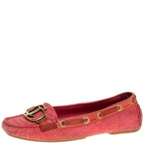Dior Pink Python Leather CD Logo Loafers Size 38