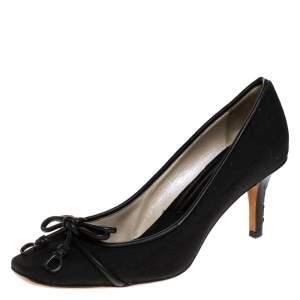 Dior Black Monogram Canvas And Leather Trim Bow Pumps Size 39