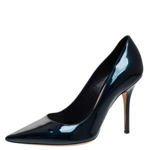 Dior Dark Blue Patent Leather Pointed Toe Pumps Size 36.5