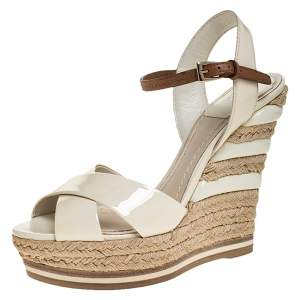 Dior Off White Patent Leather Cross Strap Espadrilles Ankle Strap Wedges Size 36