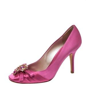 Dior Pink Satin Crystal Embellished Bow Square Toe Pumps Size 38