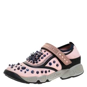 Dior Pink Stretch Fabric Fusion Embellished Low Top Sneakers Size 37.5