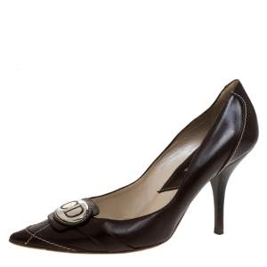 Dior Brown Leather Pointed Toe Logo Pumps Size 37