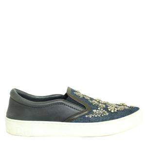 Dior Blue  Crystal Embellished Dark Wash Denim And Leather Happy Slip On Sneakers