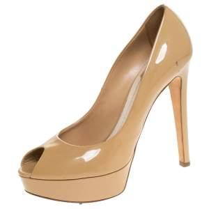 Dior Beige Patent Leather Miss Dior Peep Toe Platform Pumps Size 39.5