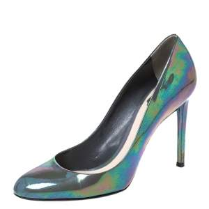 Dior Grey Iridescent Patent Leather Pumps Size 40