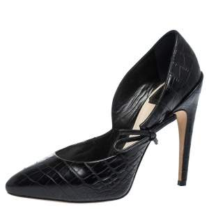 Dior Black Croc Embossed Leather Bow Embellished Pointed Toe Pumps Size 38