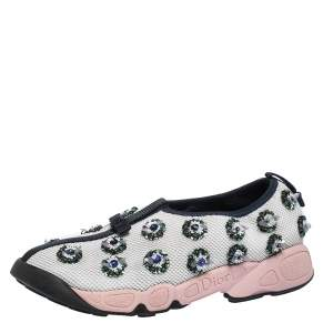Dior White/Blue Sequins Embellished Mesh Fusion Slip On Sneakers Size 37.5