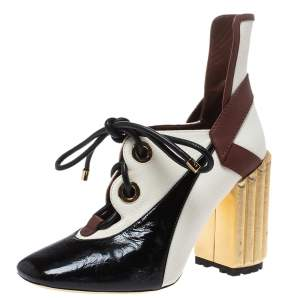 Dior Tricolor Patent Leather And Canvas Glorious Lace-Up Ankle Booties Size 38