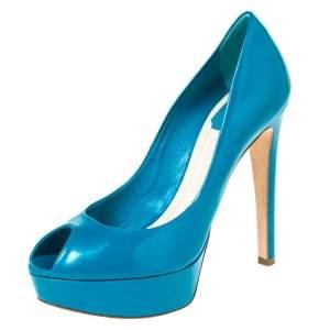 Dior Teal Leather Miss Dior Peep Toe Platform Pumps Size 38