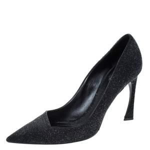 حذاء كعب عالي ديور مقدمة مدببة قصة غير متماثلة سويدي غليتر أسود مقاس 42