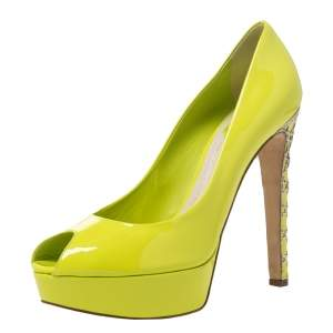 Christian Dior Neon Green Patent Leather Cannage Heel Peep Toe Platform Pumps Size 40